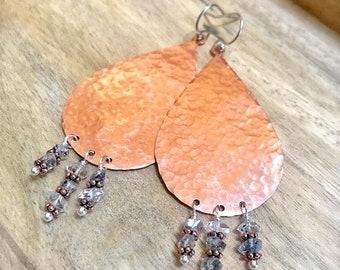 Large Hammered Copper Teardrop Earrings, Herkimer Diamond Wire Wrapped Copper Earrings, Bohemian, Statement Earrings, Mixed Metal Earrings
