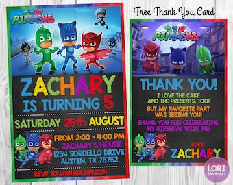PJ Masks Invitation with Free Thank You Card, PJ Masks Invitation,Birthday Party,Masks Party,Printable Invitation, Digital Invitation