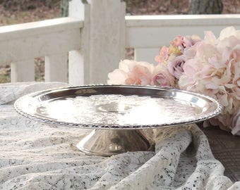 "Vintage Silverplate Engraved 12"" Cake Stand Pedestal Cake Plate Wedding Table Vintage Housewarming Gift Regency"