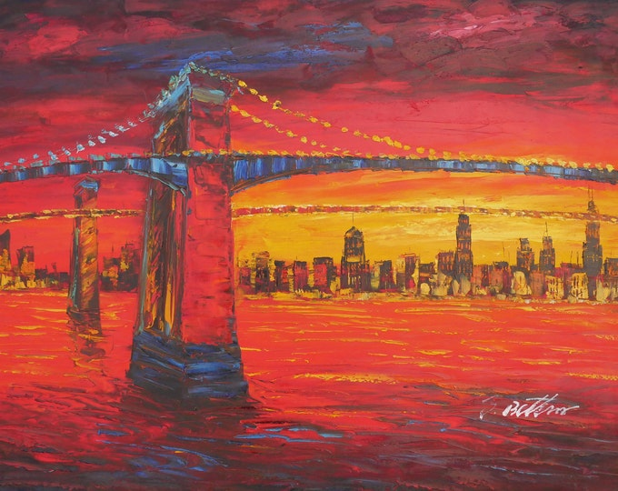 New York Art Brooklyn Bridge Painting Textured Oil on Canvas  Wall Art Beautiful Decor