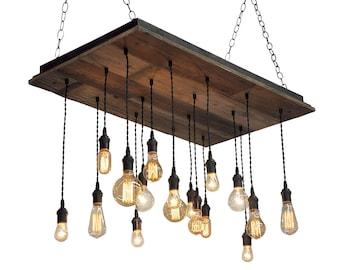 Reclaimed Wood Chandelier - Edison Bulb Pendants, Bare Bulb Pendant Chandelier, Barnwood Lighting