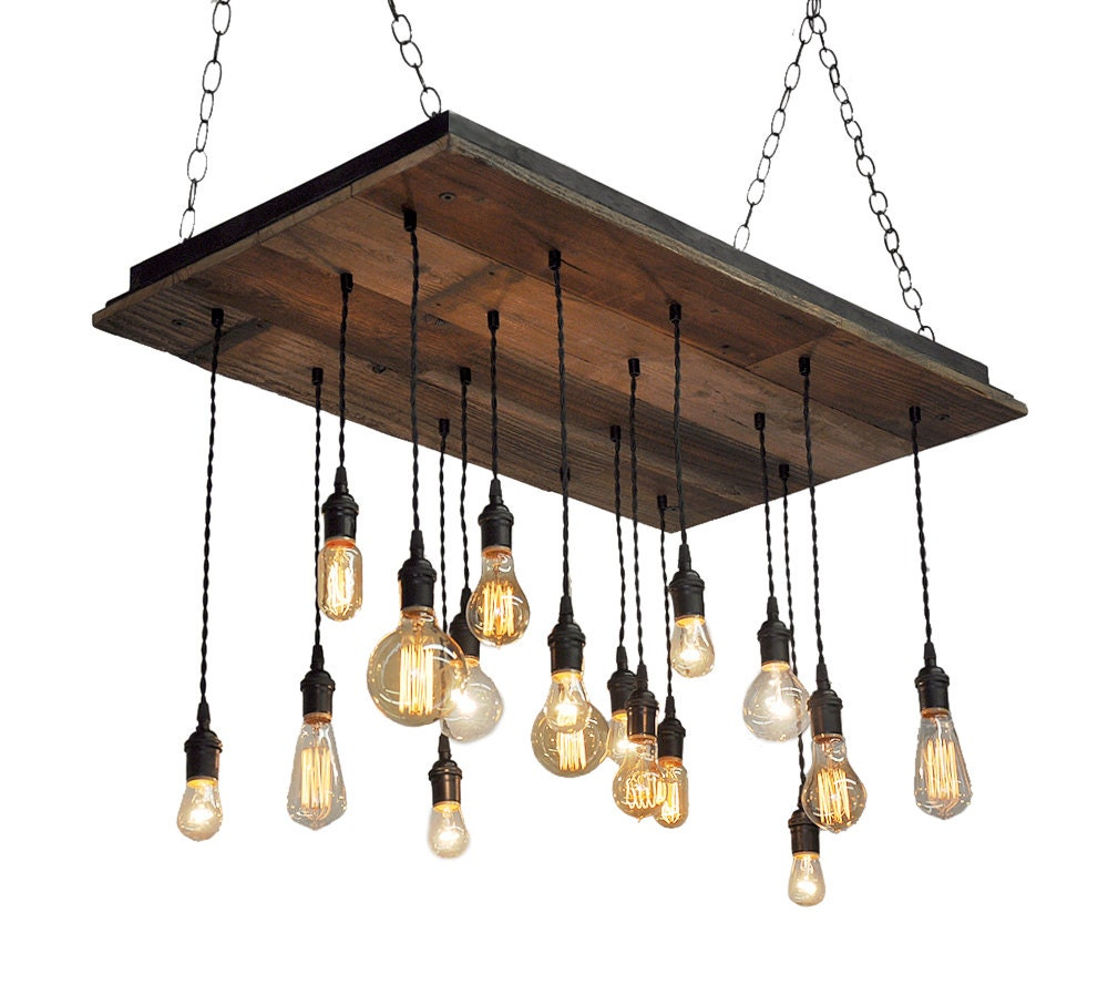 Reclaimed Wood Chandelier Edison Bulb Pendants Bare Bulb