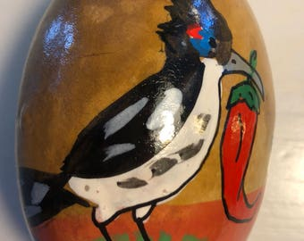 Roadrunner with Red Chile Hand-Painted Gourd Christmas Ornament  by artist Sandy Short of handpaintedgourds.com.
