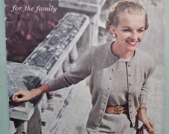 Vogue Knitting Patterns Vintage 1950s - Vogue-Knit No. 125 Sweaters and Twin Sets for the Family Cardigans Jumpers 50s original patterns UK