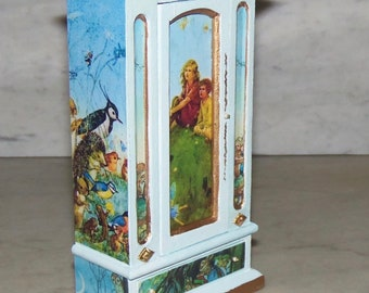 Armoire for 1:12th Dollhouse.  Molly Brett Pictures.   Painted and Decoupaged.