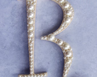 Ivory Letter Pearl Embellished Initial Wedding Cake Topper