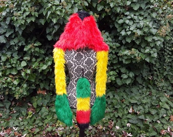Rasta Spirit Hood with matching Tail, faux fur hoodie furry hood matching set rasta colors