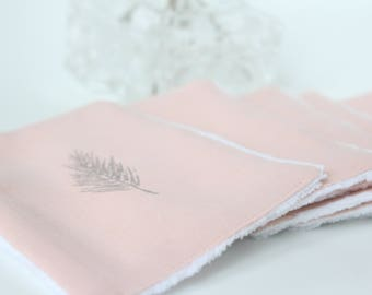 "Cleansing washable wipes ""light pink"" reusable washable cotton / square cotton cleanser / make-up remover / cotton wipe"