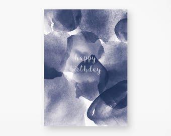 """Postcard """"happy birthday"""" Watercolor"""