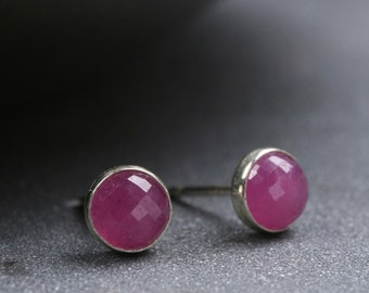 5mm rose cut pink sapphire and sterling silver bezel set stud earrings