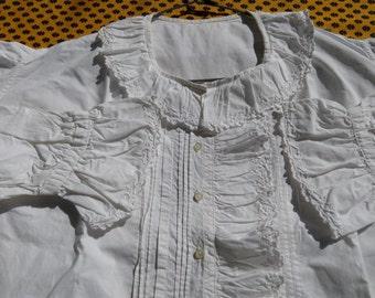 White Victorian Cotton Blouse Ruffled French Handmade Pleated Monogram Long Sleeves Women Shirt Medium Large #sophieladydeparis