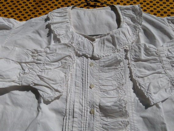 White Victorian Cotton Blouse Ruffled French Handmade Pleated Monogram Long Sleeves Women Shirt Medium Large #sophieladydeparis
