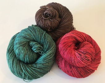 Silk & Superwash Merino Yarn Set, Sock Weight, Brown, Red, Green, Speckled Hand dyed Yarn