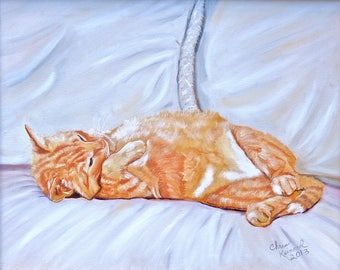 Lazy Kitty: Print of an Original Oil Painting