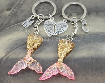 Mermaid Tail keychain mermaid keychain Friendship Keychains Best Friend Keychain Personalized Friendship gift Initial Keychain