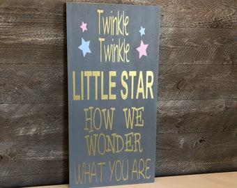 Gender Reveal Decorations ~ Twinkle Twinkle Little Star ~ Gender Reveal Party ~ Custom Wood Sign ~ Baby Shower Gift ~ Gender Reveal Ideas
