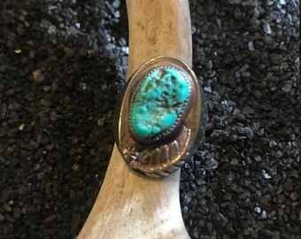 Vintage Native American Sterling Silver Turquoise Feather Ring Size 9.5
