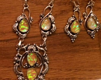 Dichroic glass necklace and earrings set