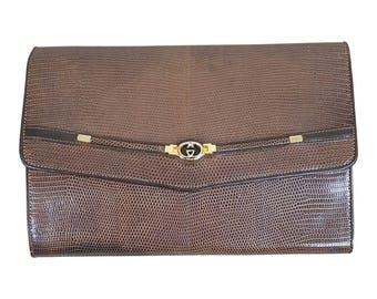 VINTAGE GUCCI Snakeskin Clutch Bag
