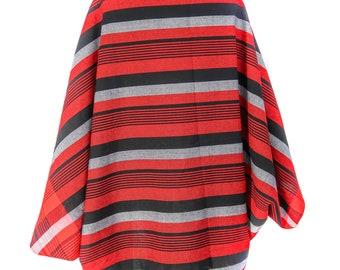 handmade Shawl, Shawl With Sleeves, Red and Black Shawl, Women's Shawl