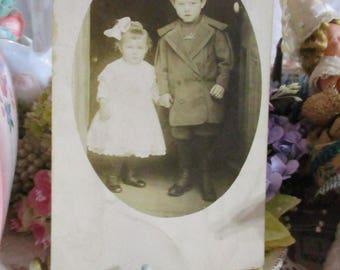 Antique Vintage Photograph Cabinet Card-Frank and Lulu-Children