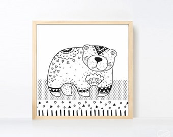 Tribal Bear Art Printable, Black and White Nursery Animal, Woodland Nursery Boho, Boy Wall Art Animal Bear, Zoo Nursery Art Scandinavian Art