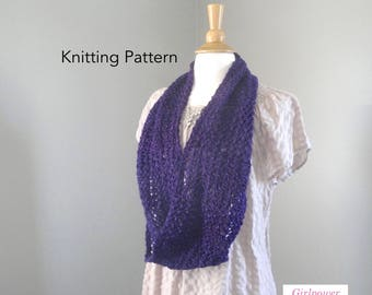 Lacy Infinity Scarf Knitting Pattern, Lace Infinity Möbius Scarf, DK Worsted Yarn, Eternity Scarf
