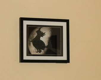 Halloween Witch flying in the Moon photograph, Halloween wall art