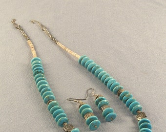 """Genuine Turquoise Disk Beads // Necklace and Earring Set // Blue Turquoise // .5"""" Disks // Silver Spacer Beads // Classically Decorativ"""