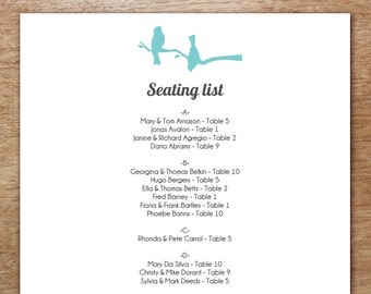 Turquoise Love Birds Printable Wedding Seating Chart Template