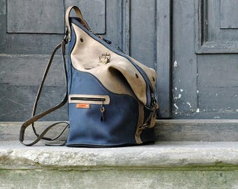 New leather handmade backpack / shoulder bag Navy Blue, Beige
