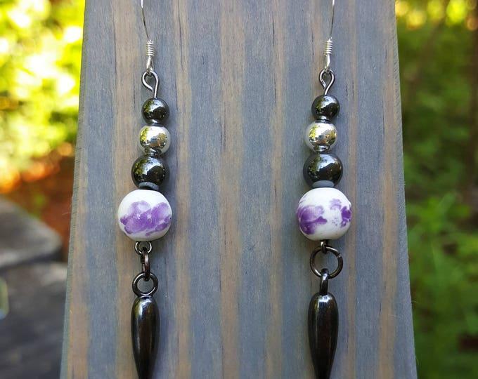 Purple Pottery Fight Night Earrings