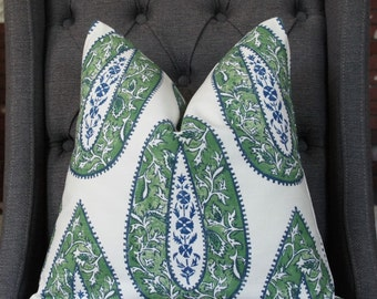 Green Paisley Pillow Cover, Throw Pillow, Decorative Pillow, Designer Pillow, Toss Pillow, Green Pillow, Home Welcome, Home Furnishing