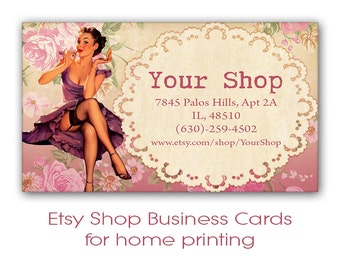 Pinup sewing shop business cards on digital collage sheet home printable business cards for etsy shop set digital collage sheet printable download digital prints pink pinup cards pink shop cards colourmoves
