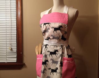UNICORN Retro Quilted Apron // Vintage Style Apron // Pink and Grey // Reversible