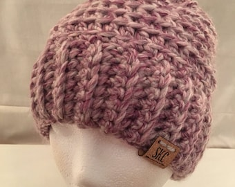 Crochet Beanie in Heathered Lavender .