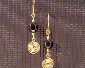 Gold-filled Hematite Swirl Earrings
