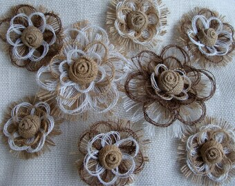 Southern Wedding Burlap Flower Set of 8 - Cake Topper - Decorations - Home Decor
