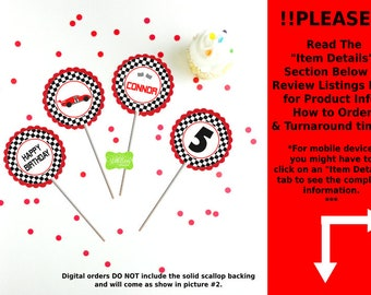 Race Car Party Circles - Race Car Cupcake Toppers - Race Car Toppers - Racing Toppers - Digital File or Printed Toppers Available