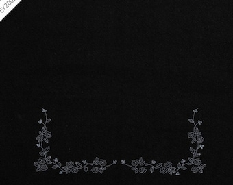 """byhands Rose Printed Fabric for Embroidery, 15.7"""", Black (EP01E-G-BK)"""