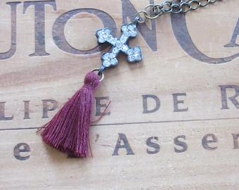 Tassel Necklace with Rhinestone Cross Boho Necklace