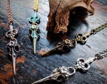 Hummingbird Skull Necklace - Art Nouveau - Pendant - Unique Gift - Macabre - Goth - Witchy - Oddity - Bird - Boho - Dark Jewelry