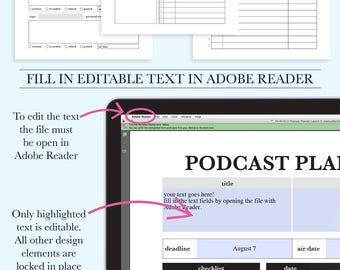 Podcast Kit, Planner Inserts, Printable Planner Kit, Digital Planner, Podcast Calendar, Planner Pages, Podcasting, Podcaster