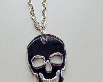 Skull | Halloween | Horror | Skeleton | Emo | Mirrored | Silver | Laser Cut | Acrylic | Necklace