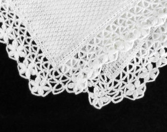 Knitted Baby Blanket, White Christening Blanket, Crochet Lace Baby Blanket, Baby Shower Gift, Knitted Baby Afghan,Throw,New Mom Gift