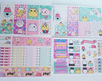 Kawaii Kitty Plops~ Hand Drawn Weekly Sticker Kit for Erin Condren Vertical + EC Hardbound Vertical Planners