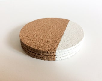 Geometric Cork Coasters - White