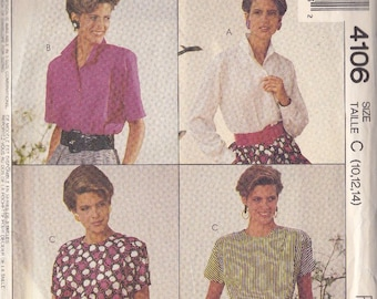 Misses Blouse Patterns ~ McCalls  Combination Sizes 10 ~ 12 ~ 14 ~ Two Fashion Styles ~  Front Button w Collar ~ Pullover ~ Cut But Complete