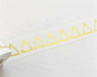 SALE Bright Shiny Metallic Gold Foil Triangles Washi Tape 11 yards 10 meters 15mm Gold Foil