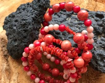 Vintage Coral Bead Wrap Bracelet